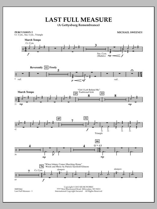 Michael Sweeney Last Full Measure (A Gettysburg Remembrance) - Percussion 2 sheet music notes and chords