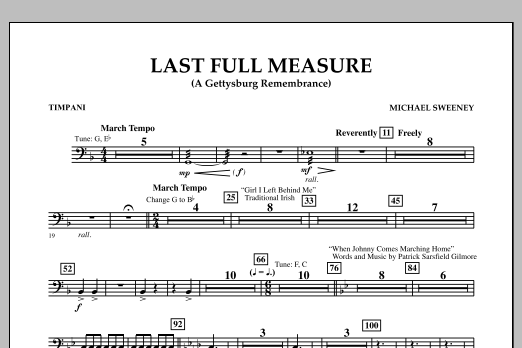 Michael Sweeney Last Full Measure (A Gettysburg Remembrance) - Timpani sheet music notes and chords