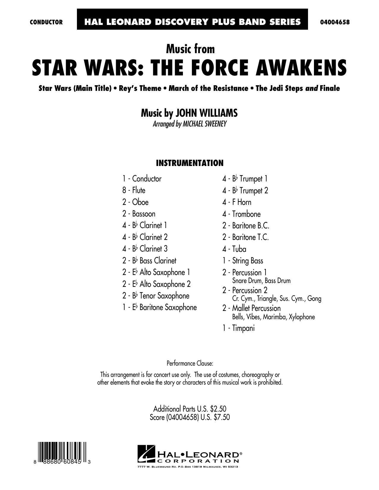 Michael Sweeney Music from Star Wars: The Force Awakens - Conductor Score (Full Score) sheet music preview music notes and score for Concert Band including 26 page(s)