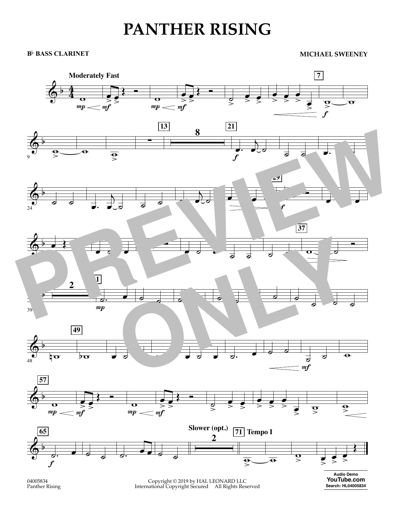 Michael Sweeney Panther Rising - Bb Bass Clarinet sheet music preview music notes and score for Concert Band including 1 page(s)