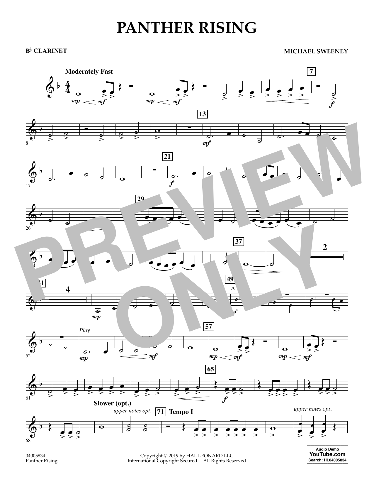 Michael Sweeney Panther Rising - Bb Clarinet sheet music preview music notes and score for Concert Band including 1 page(s)