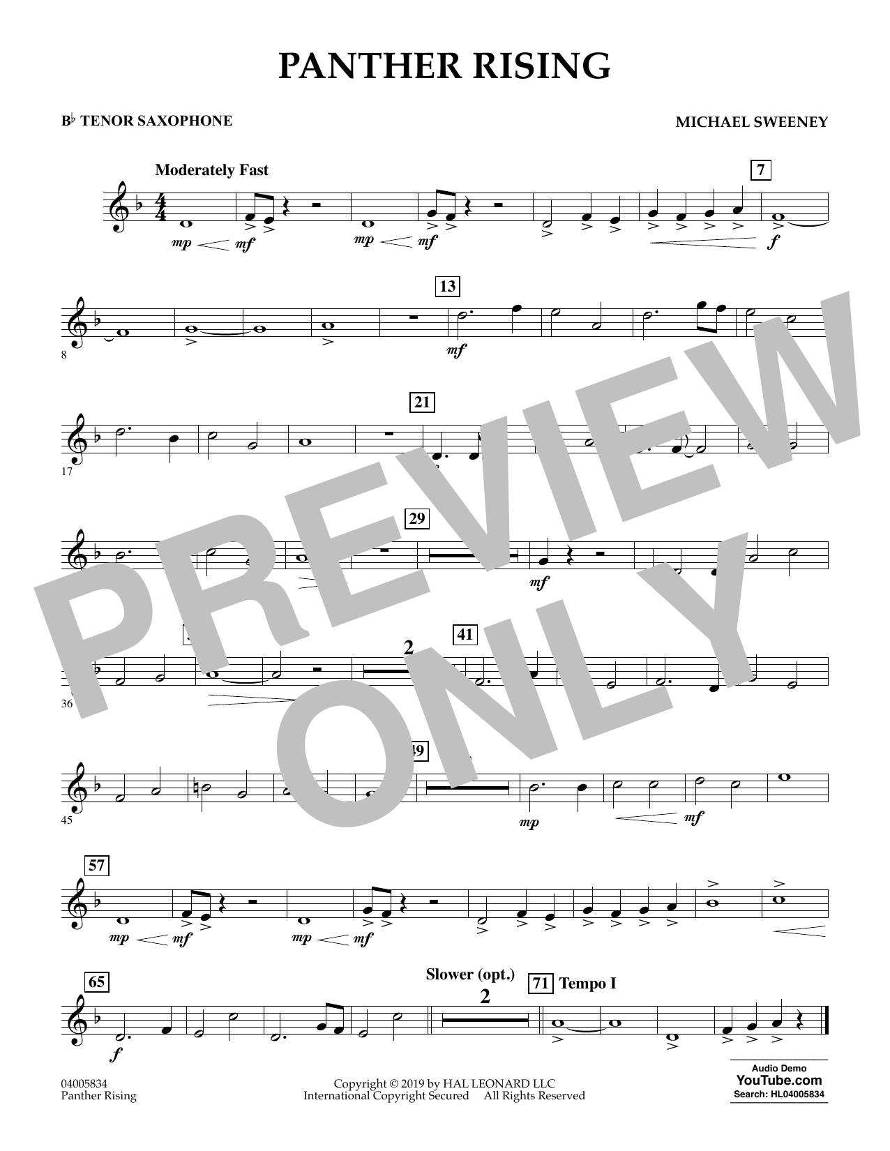 Michael Sweeney Panther Rising - Bb Tenor Saxophone sheet music preview music notes and score for Concert Band including 1 page(s)
