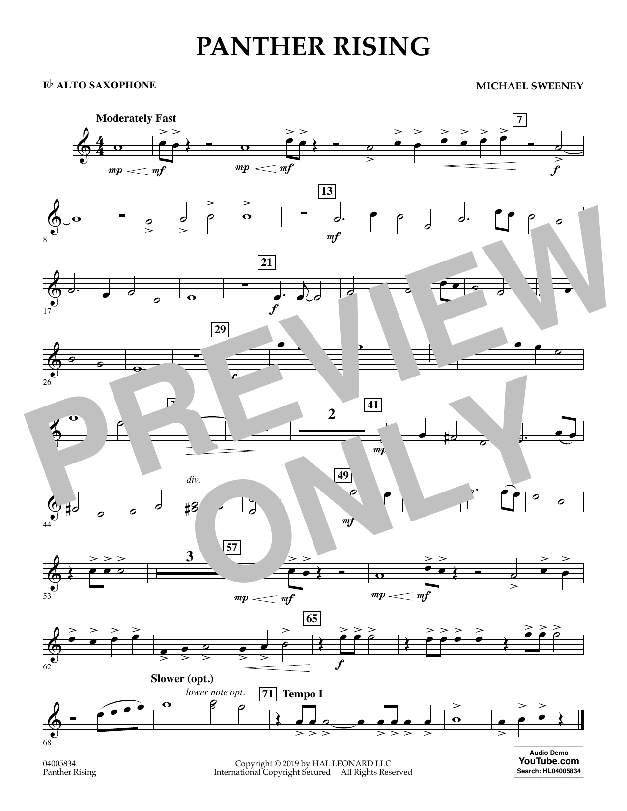 Michael Sweeney Panther Rising - Eb Alto Saxophone sheet music preview music notes and score for Concert Band including 1 page(s)