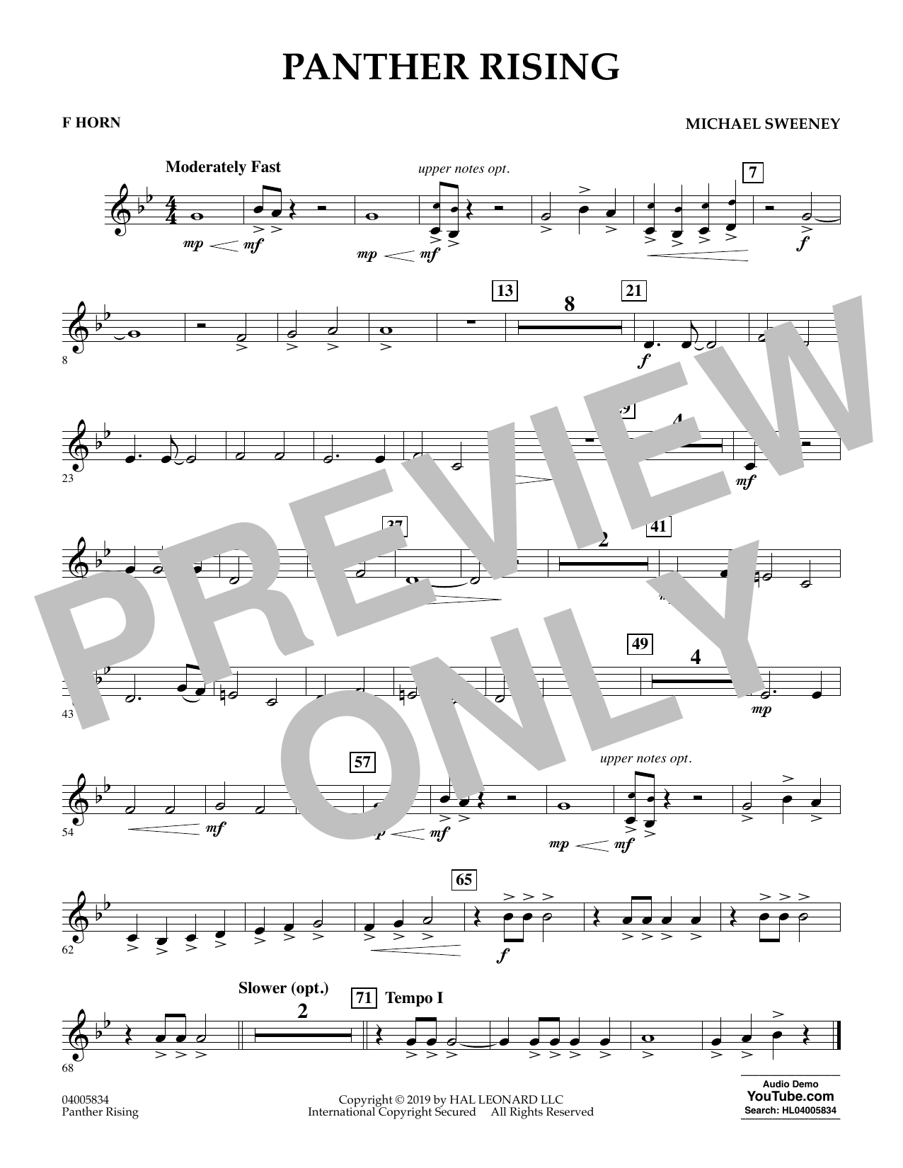 Michael Sweeney Panther Rising - F Horn sheet music preview music notes and score for Concert Band including 1 page(s)