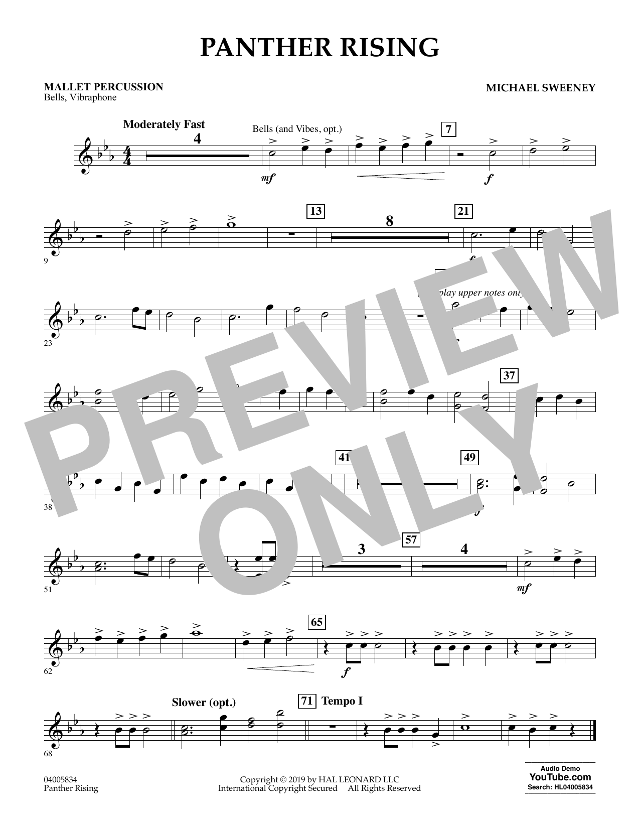 Michael Sweeney Panther Rising - Mallet Percussion sheet music preview music notes and score for Concert Band including 1 page(s)