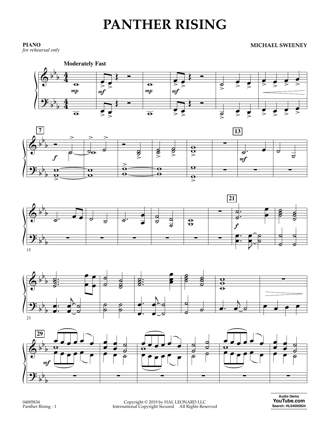 Michael Sweeney Panther Rising - Piano sheet music preview music notes and score for Concert Band including 2 page(s)