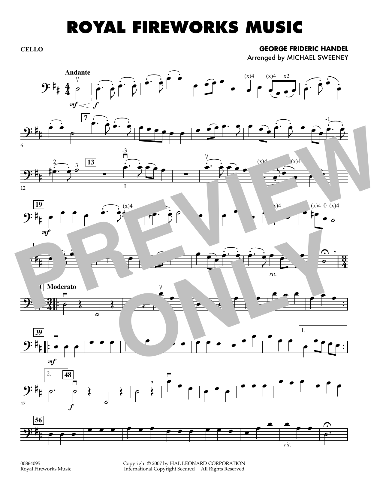 Michael Sweeney Royal Fireworks Music - Cello sheet music preview music notes and score for Orchestra including 1 page(s)