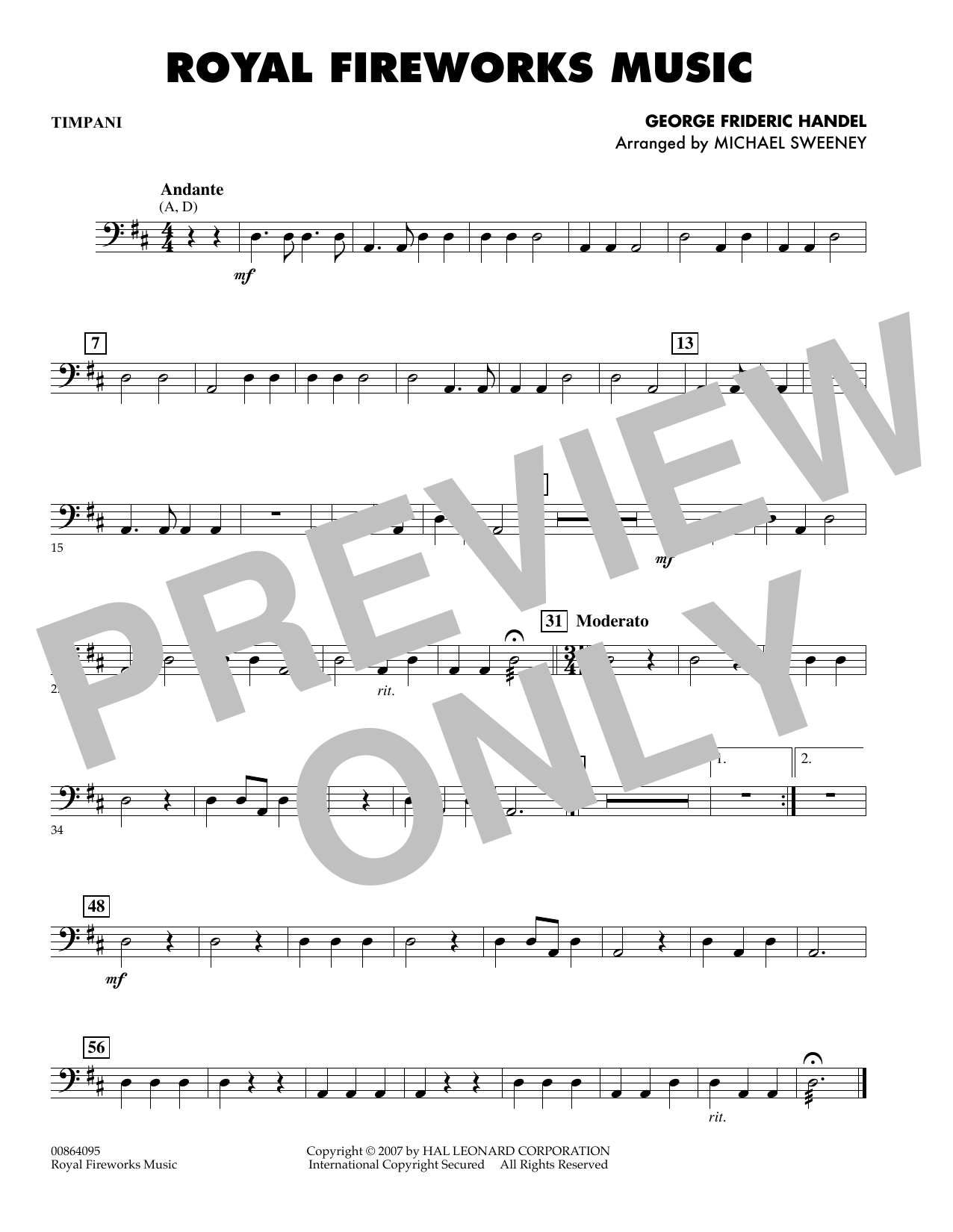Michael Sweeney Royal Fireworks Music - Piano sheet music preview music notes and score for Orchestra including 1 page(s)