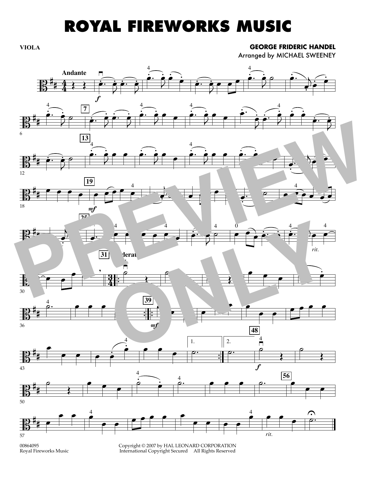 Michael Sweeney Royal Fireworks Music - Viola sheet music preview music notes and score for Orchestra including 1 page(s)