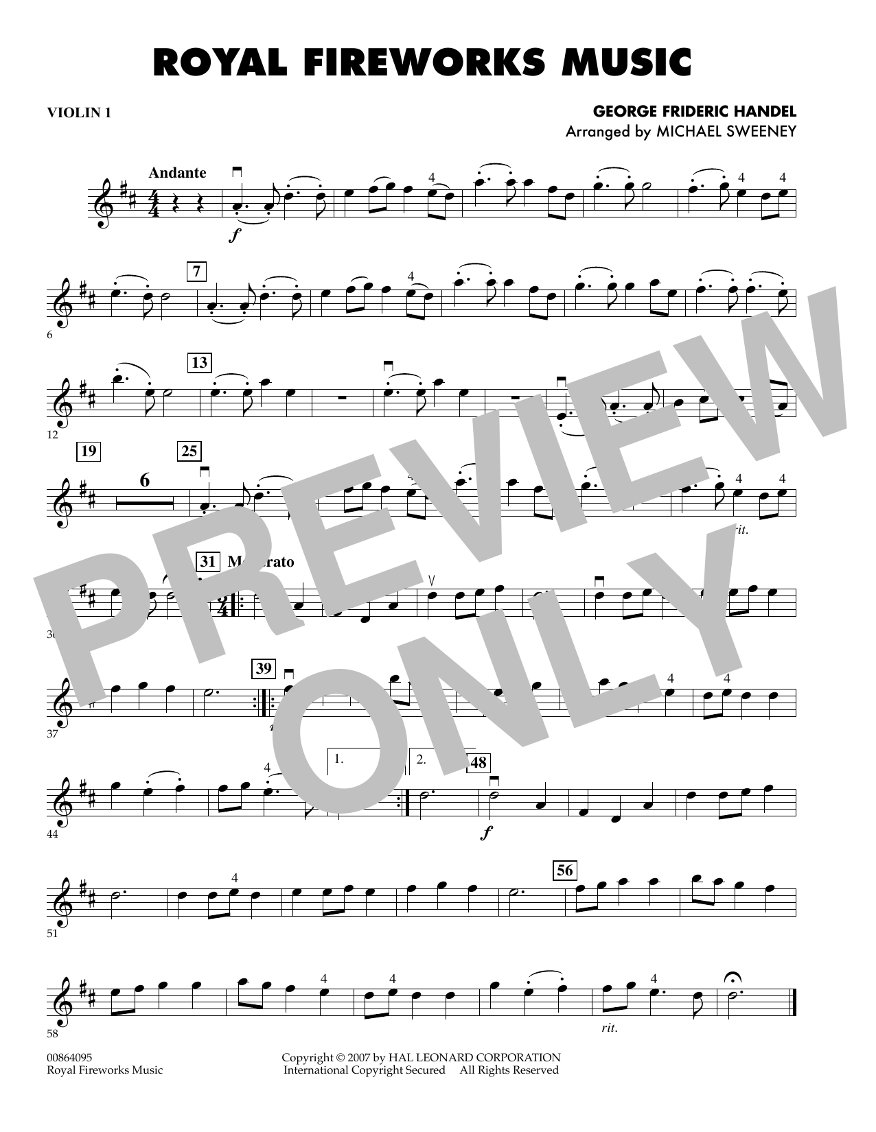 Michael Sweeney Royal Fireworks Music - Violin 1 sheet music preview music notes and score for Orchestra including 1 page(s)