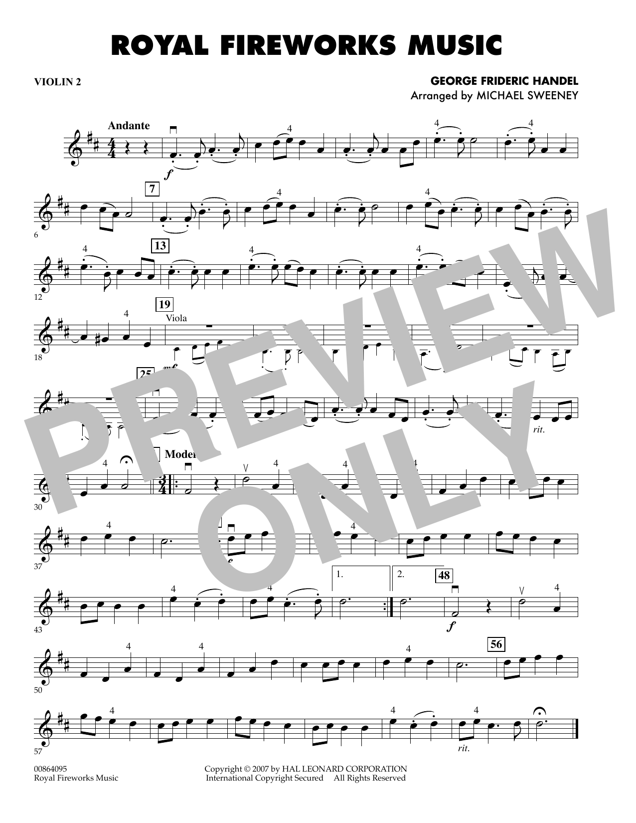 Michael Sweeney Royal Fireworks Music - Violin 2 sheet music preview music notes and score for Orchestra including 1 page(s)