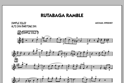 Michael Sweeney Rutabaga Ramble - Alto Sax/Bari Sax Sample Solo sheet music notes and chords