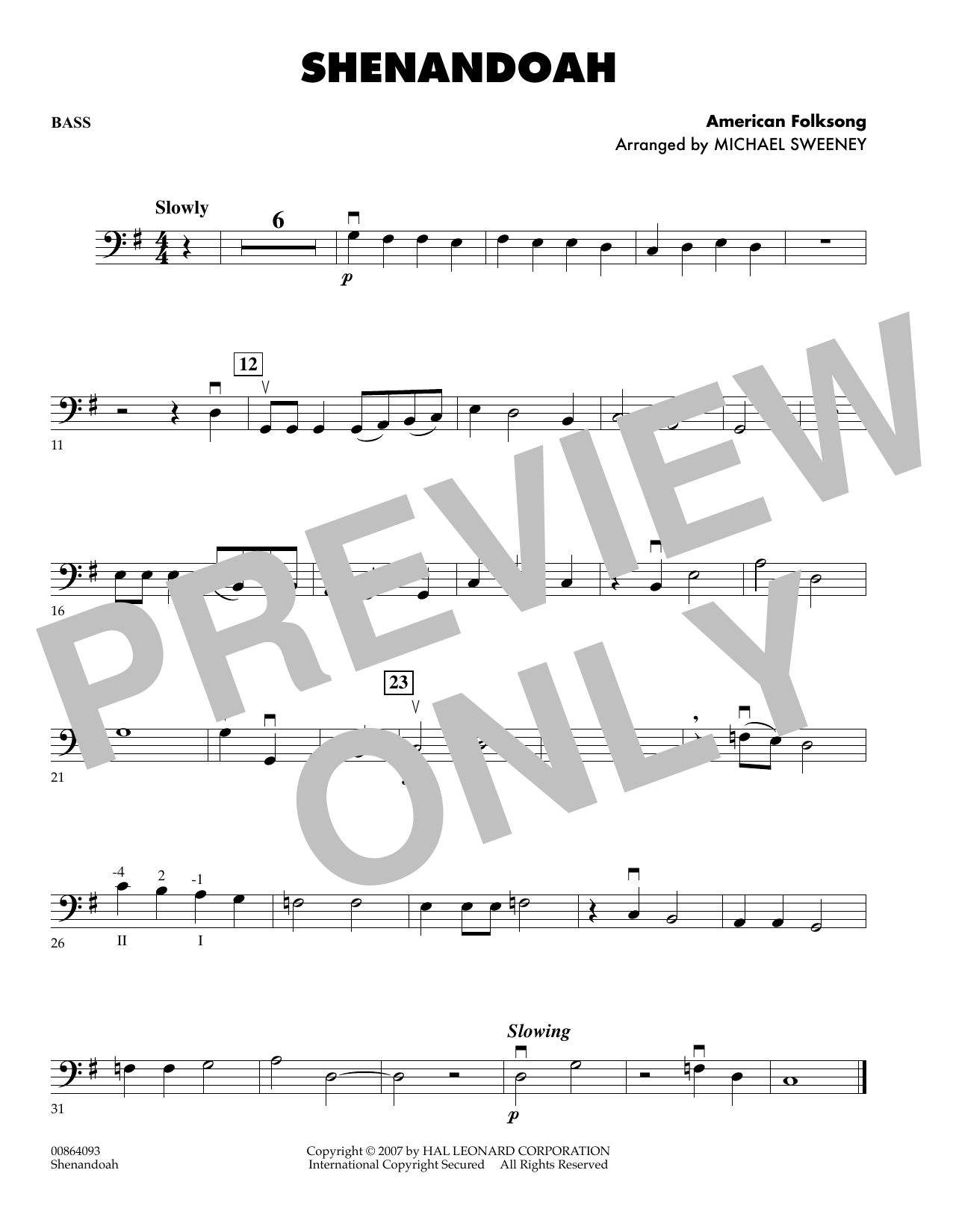 Michael Sweeney Shenandoah - Bass sheet music preview music notes and score for Orchestra including 1 page(s)