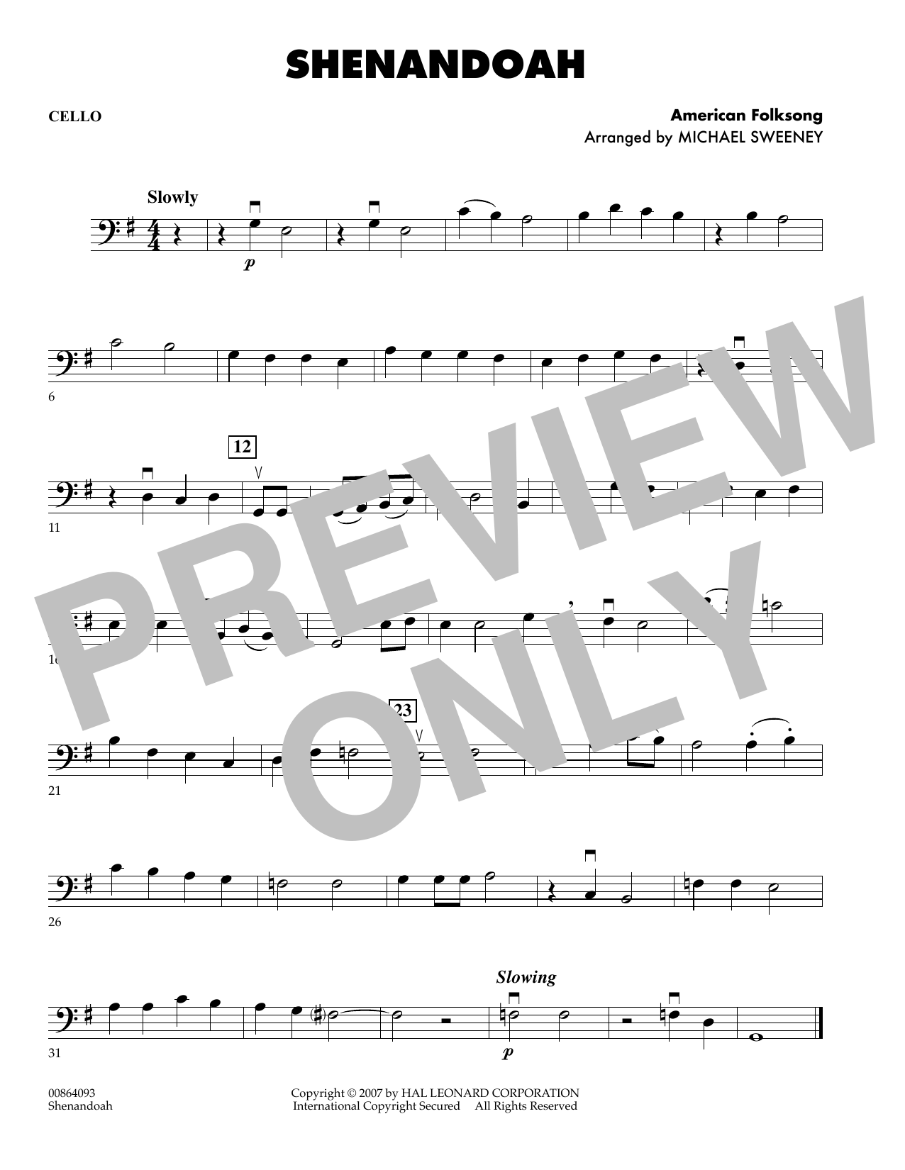 Michael Sweeney Shenandoah - Cello sheet music preview music notes and score for Orchestra including 1 page(s)