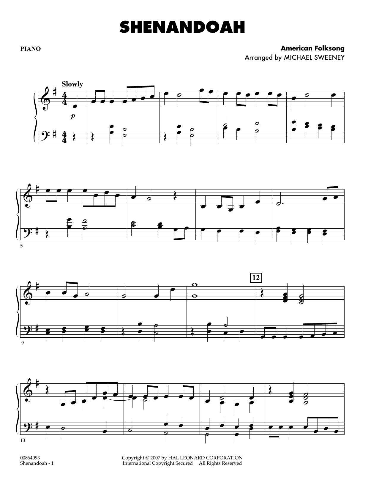 Michael Sweeney Shenandoah - Piano sheet music preview music notes and score for Orchestra including 2 page(s)