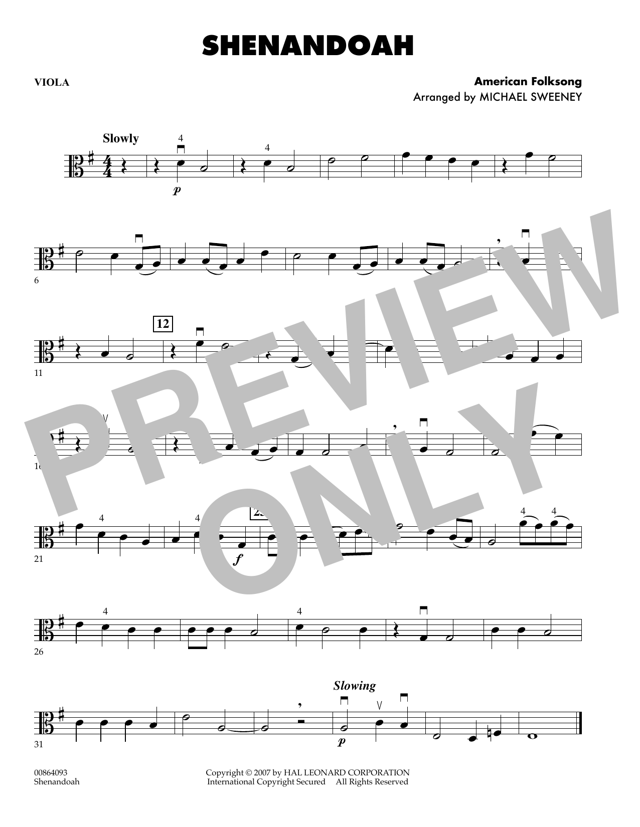 Michael Sweeney Shenandoah - Viola sheet music preview music notes and score for Orchestra including 1 page(s)