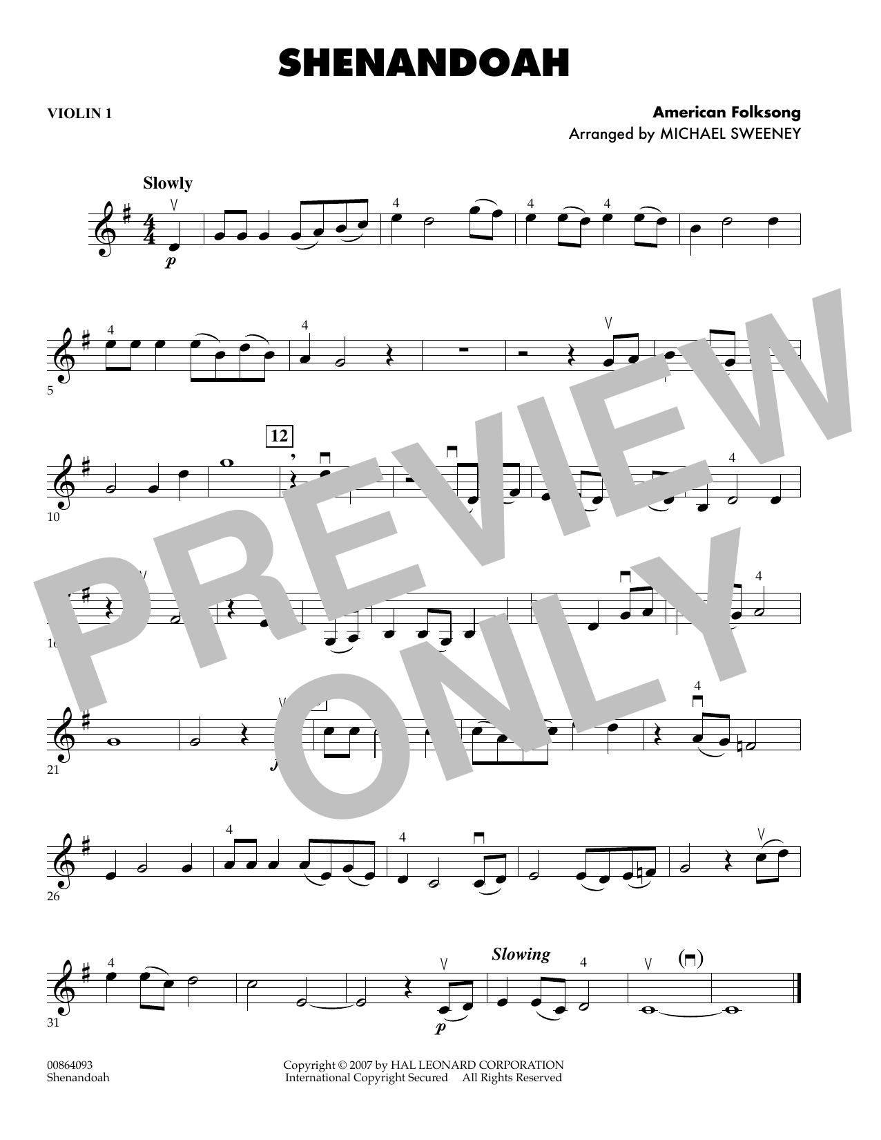 Michael Sweeney Shenandoah - Violin 1 sheet music preview music notes and score for Orchestra including 1 page(s)