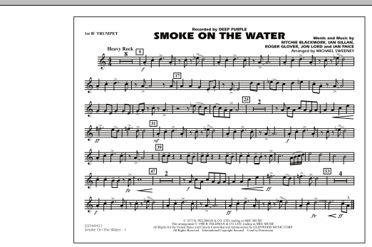 Michael Sweeney Smoke On The Water - 1st Bb Trumpet sheet music preview music notes and score for Marching Band including 1 page(s)