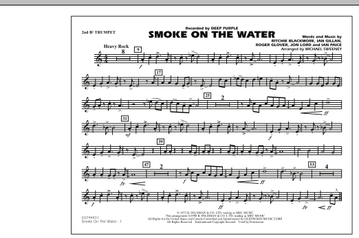 Michael Sweeney Smoke On The Water - 2nd Bb Trumpet sheet music preview music notes and score for Marching Band including 1 page(s)