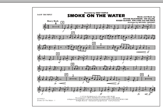 Michael Sweeney Smoke On The Water - 3rd Bb Trumpet sheet music preview music notes and score for Marching Band including 1 page(s)