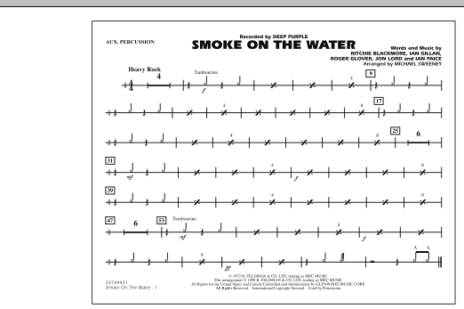 Michael Sweeney Smoke On The Water - Aux Percussion sheet music preview music notes and score for Marching Band including 1 page(s)