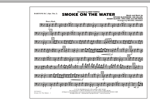 Michael Sweeney Smoke On The Water - Baritone B.C. (Opt. Tbn. 2) sheet music preview music notes and score for Marching Band including 1 page(s)