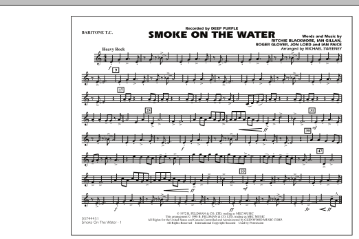 Michael Sweeney Smoke On The Water - Baritone T.C. sheet music preview music notes and score for Marching Band including 1 page(s)