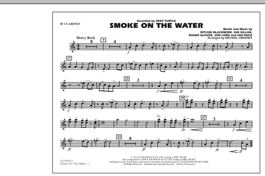 Michael Sweeney Smoke On The Water - Bb Clarinet sheet music preview music notes and score for Marching Band including 1 page(s)