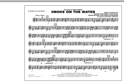 Michael Sweeney Smoke On The Water - Bb Horn/Flugelhorn sheet music preview music notes and score for Marching Band including 1 page(s)