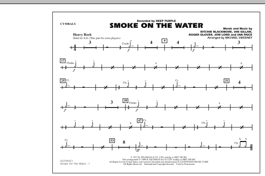 Michael Sweeney Smoke On The Water - Cymbals sheet music preview music notes and score for Marching Band including 1 page(s)