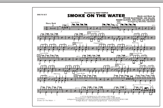 Michael Sweeney Smoke On The Water - Drum Set sheet music preview music notes and score for Marching Band including 1 page(s)