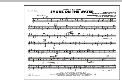 Michael Sweeney Smoke On The Water - Eb Alto Sax sheet music preview music notes and score for Marching Band including 1 page(s)