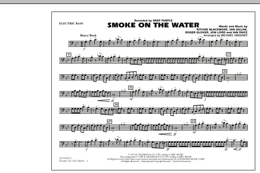 Michael Sweeney Smoke On The Water - Electric Bass sheet music preview music notes and score for Marching Band including 1 page(s)