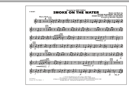 Michael Sweeney Smoke On The Water - F Horn sheet music preview music notes and score for Marching Band including 1 page(s)