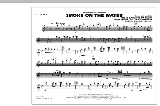 Michael Sweeney Smoke On The Water - Flute/Piccolo sheet music preview music notes and score for Marching Band including 1 page(s)
