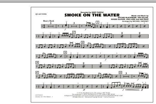 Michael Sweeney Smoke On The Water - Quad Toms sheet music preview music notes and score for Marching Band including 1 page(s)