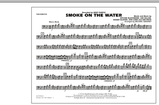 Michael Sweeney Smoke On The Water - Trombone sheet music preview music notes and score for Marching Band including 1 page(s)
