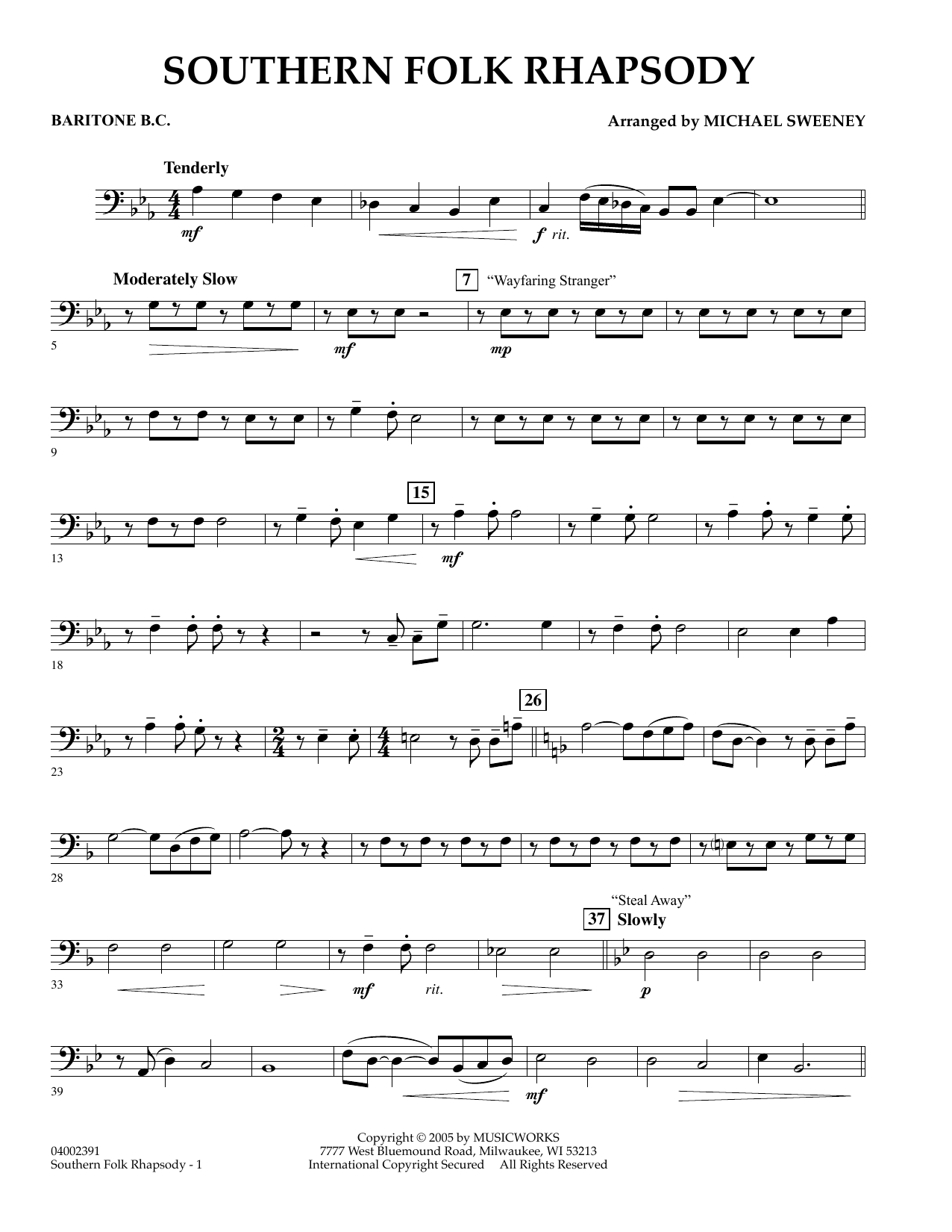 Michael Sweeney Southern Folk Rhapsody - Baritone B.C. sheet music preview music notes and score for Concert Band including 2 page(s)