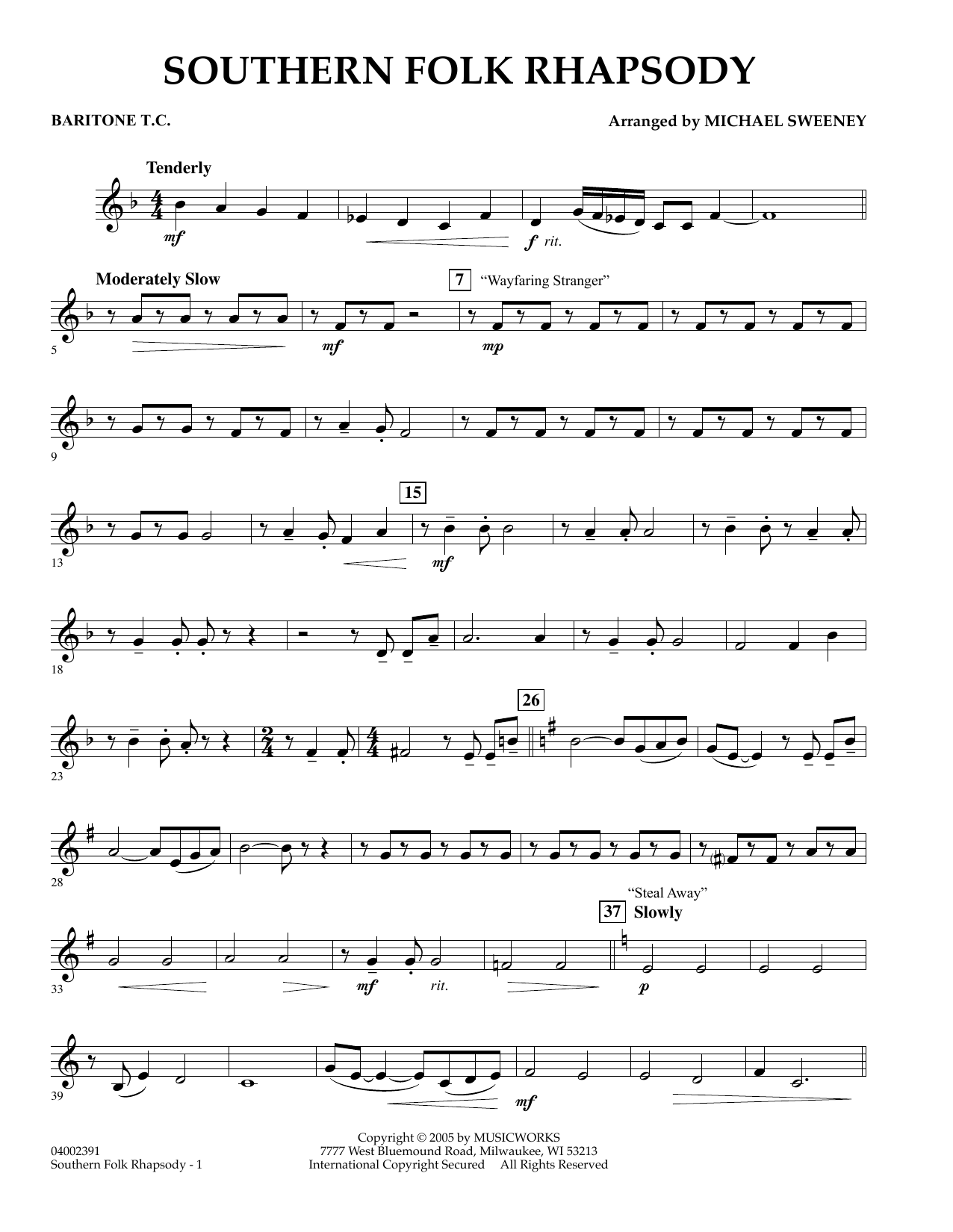 Michael Sweeney Southern Folk Rhapsody - Baritone T.C. sheet music preview music notes and score for Concert Band including 2 page(s)