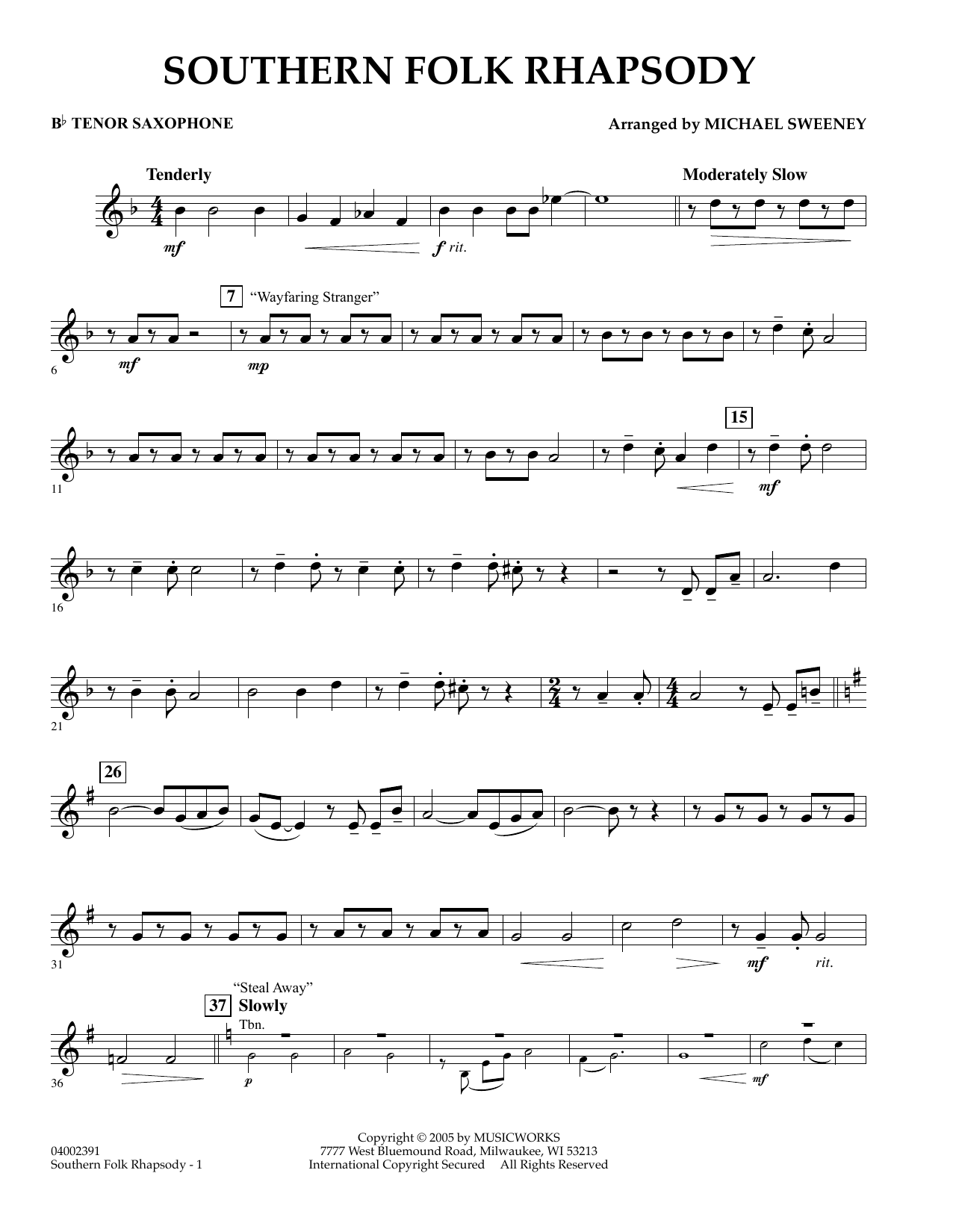 Michael Sweeney Southern Folk Rhapsody - Bb Tenor Saxophone sheet music preview music notes and score for Concert Band including 2 page(s)