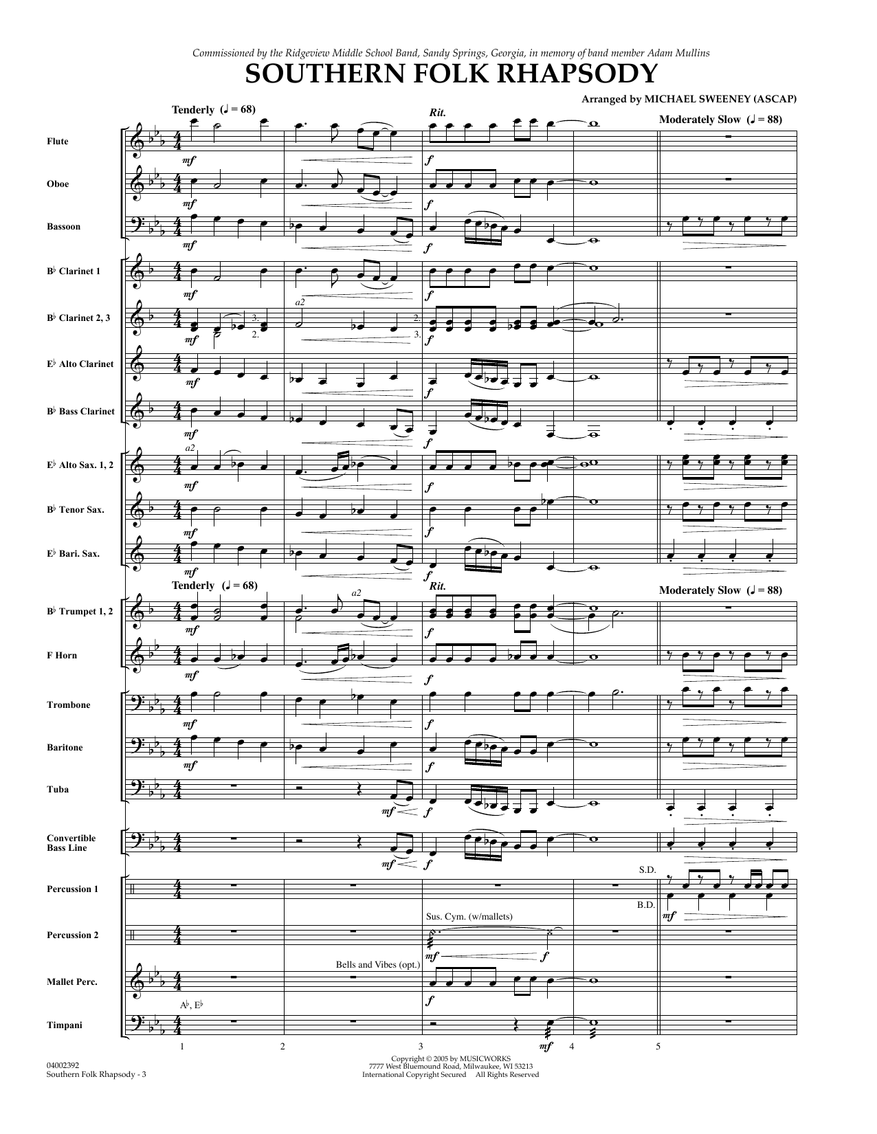 Michael Sweeney Southern Folk Rhapsody - Full Score sheet music preview music notes and score for Concert Band including 18 page(s)
