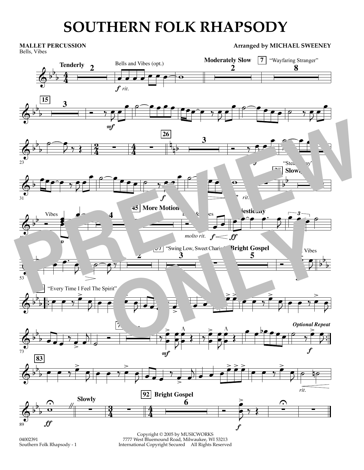 Michael Sweeney Southern Folk Rhapsody - Mallet Percussion sheet music preview music notes and score for Concert Band including 1 page(s)