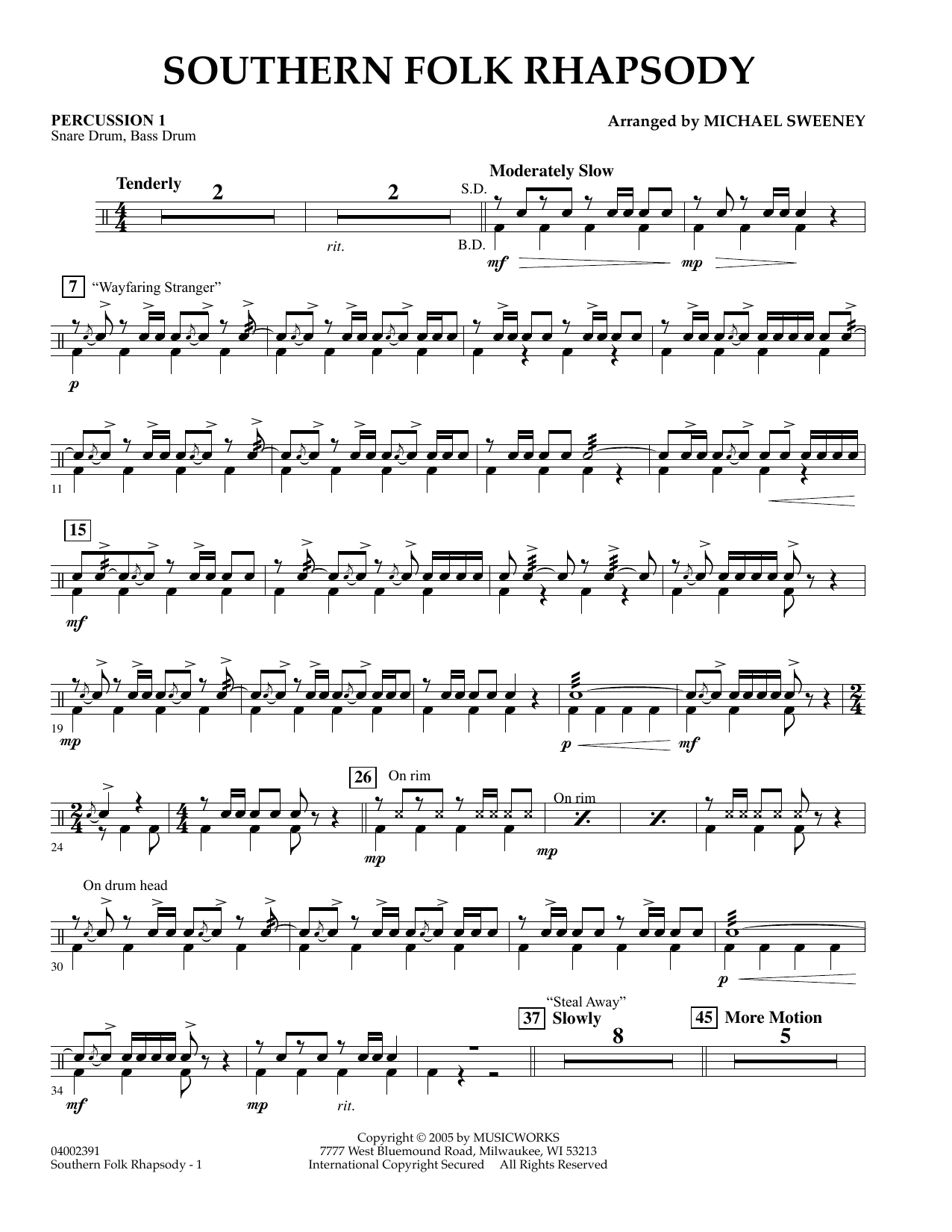 Michael Sweeney Southern Folk Rhapsody - Percussion 1 sheet music preview music notes and score for Concert Band including 2 page(s)