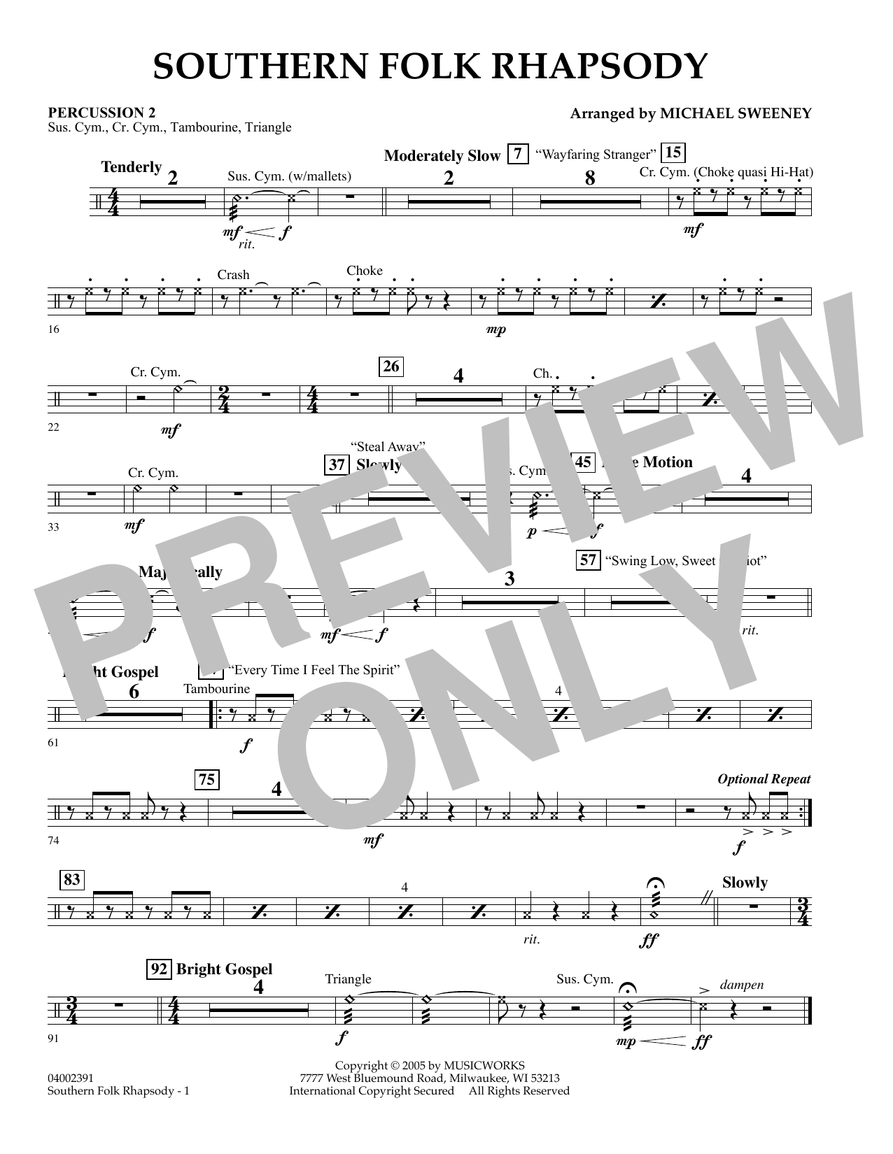 Michael Sweeney Southern Folk Rhapsody - Percussion 2 sheet music preview music notes and score for Concert Band including 1 page(s)