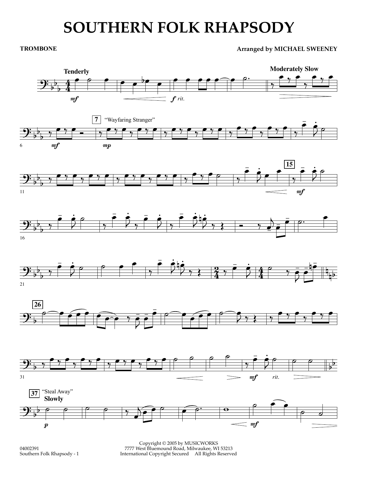 Michael Sweeney Southern Folk Rhapsody - Trombone sheet music preview music notes and score for Concert Band including 2 page(s)