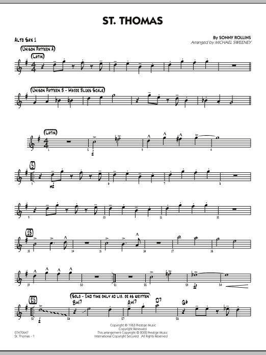 Michael Sweeney St. Thomas - Alto Sax 1 sheet music preview music notes and score for Jazz Ensemble including 2 page(s)