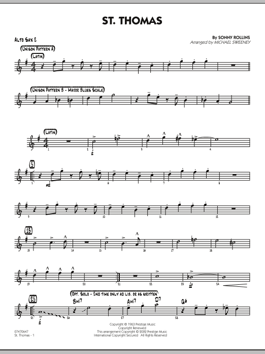 Michael Sweeney St. Thomas - Alto Sax 2 sheet music preview music notes and score for Jazz Ensemble including 2 page(s)