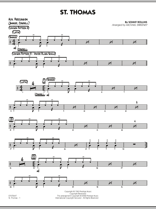 Michael Sweeney St. Thomas - Aux Percussion sheet music preview music notes and score for Jazz Ensemble including 2 page(s)