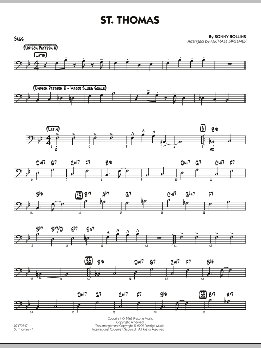 Michael Sweeney St. Thomas - Bass sheet music preview music notes and score for Jazz Ensemble including 2 page(s)