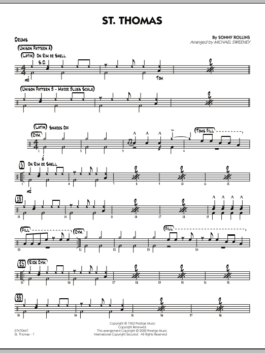 Michael Sweeney St. Thomas - Drums sheet music preview music notes and score for Jazz Ensemble including 2 page(s)